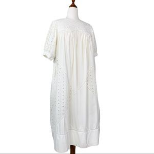 Vintage White Eyelet Lace Cotton Midi Dress Medium